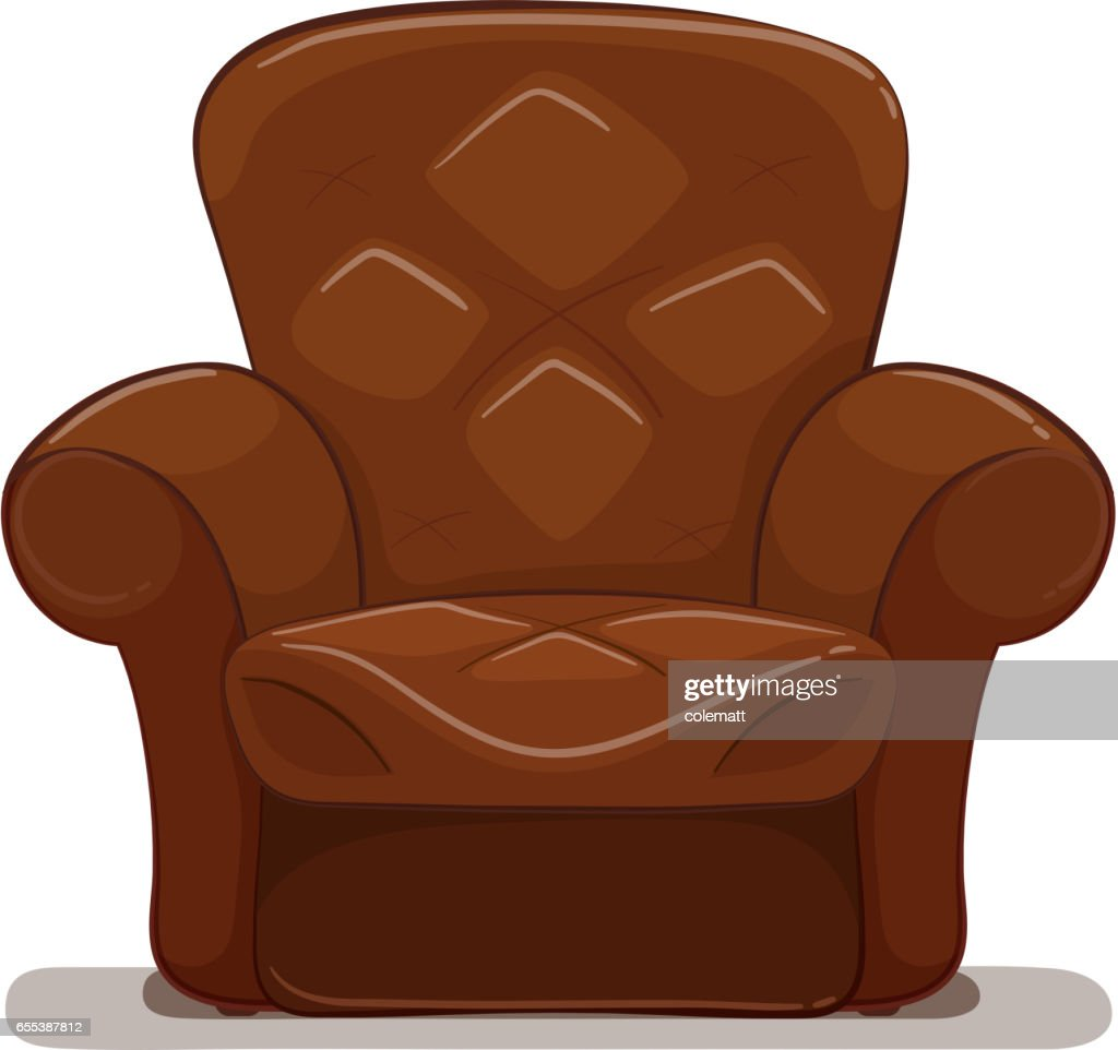 Brown armchair on white background