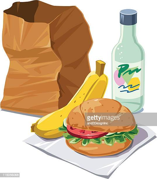 brown bag lunch - lunch break stock illustrations, clip art, cartoons, & icons