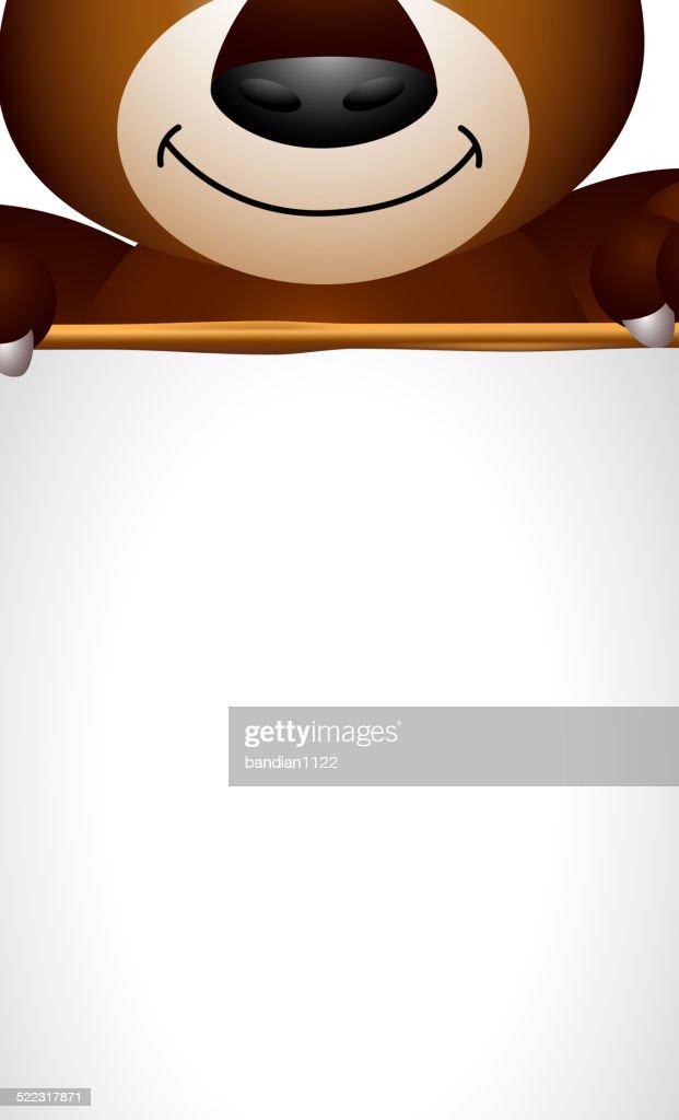 brown bear cartoon holding blank sign