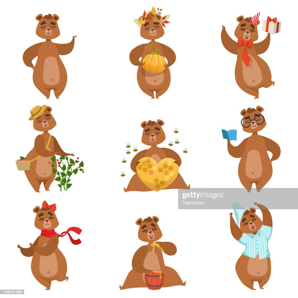 Brown Bear Different Activities Set Of Girly Character Stickers