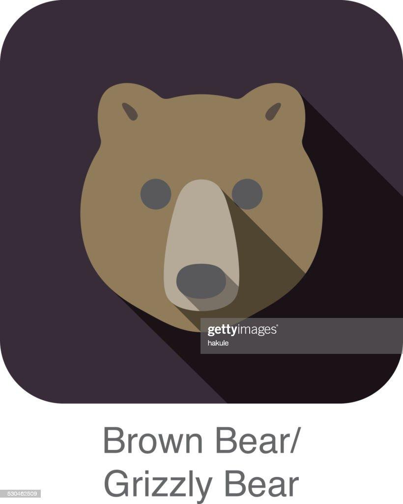 Brown bear face flat icon design. Animal icons series.