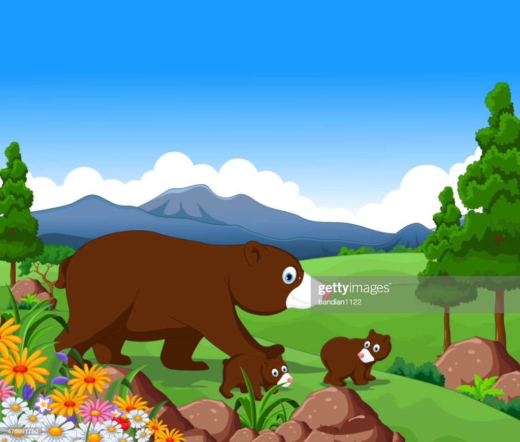 brown bear family cartoon in the jungle