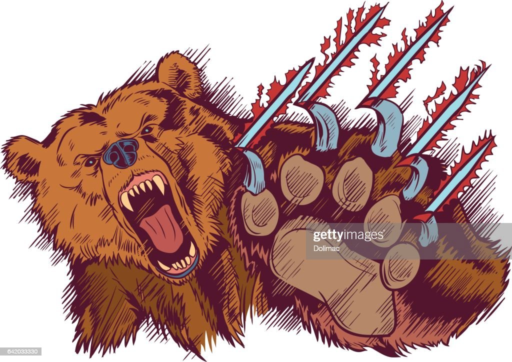Brown Bear Mascot Slashing or Clawing Vector Cartoon