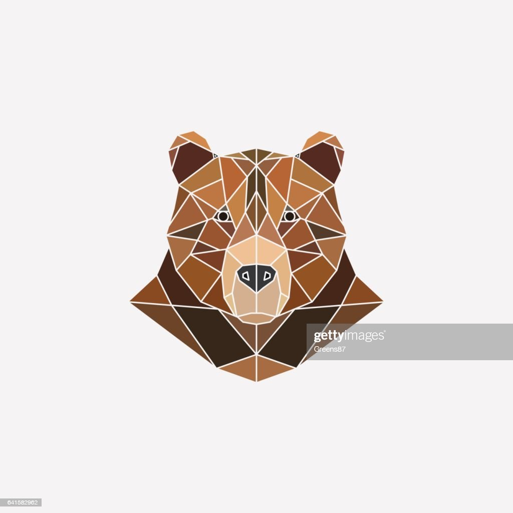 Brown bear portrait. Abstract polygonal design. Vector illustration.