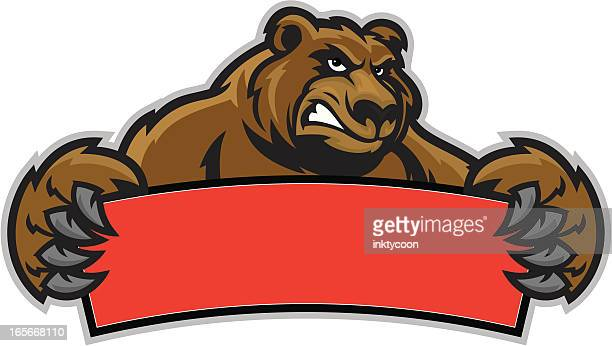 brown bear sign - agression stock illustrations, clip art, cartoons, & icons