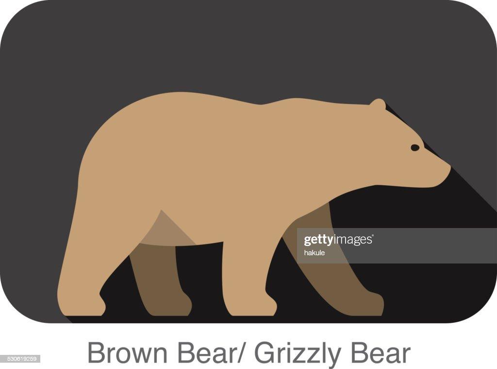 Brown bear walking side flat 3D icon design