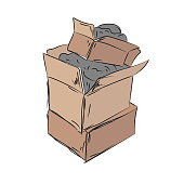 Brown cardboard boxes are made on each other.