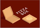 Brown carton packaging pizza box. Cardboard open and close boxes