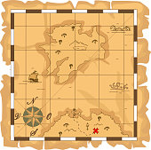 A brown cartoon treasure map with checkered borders