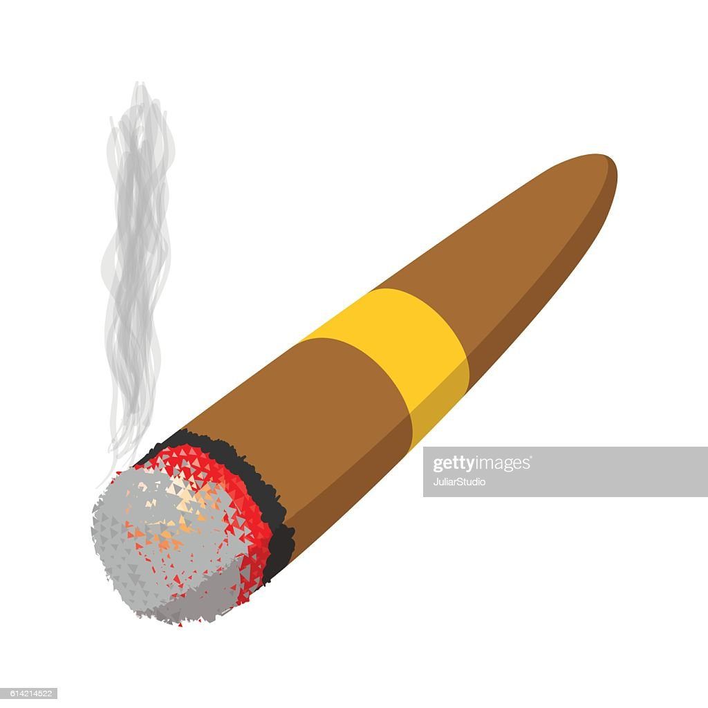 Brown cigar burned cartoon icon