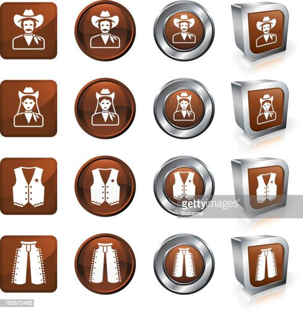 brown cowboy themed vector button and icon set. - waistcoat stock illustrations, clip art, cartoons, & icons
