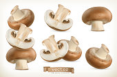 Brown cremini mushroom, 3d vector icon set isolated on white