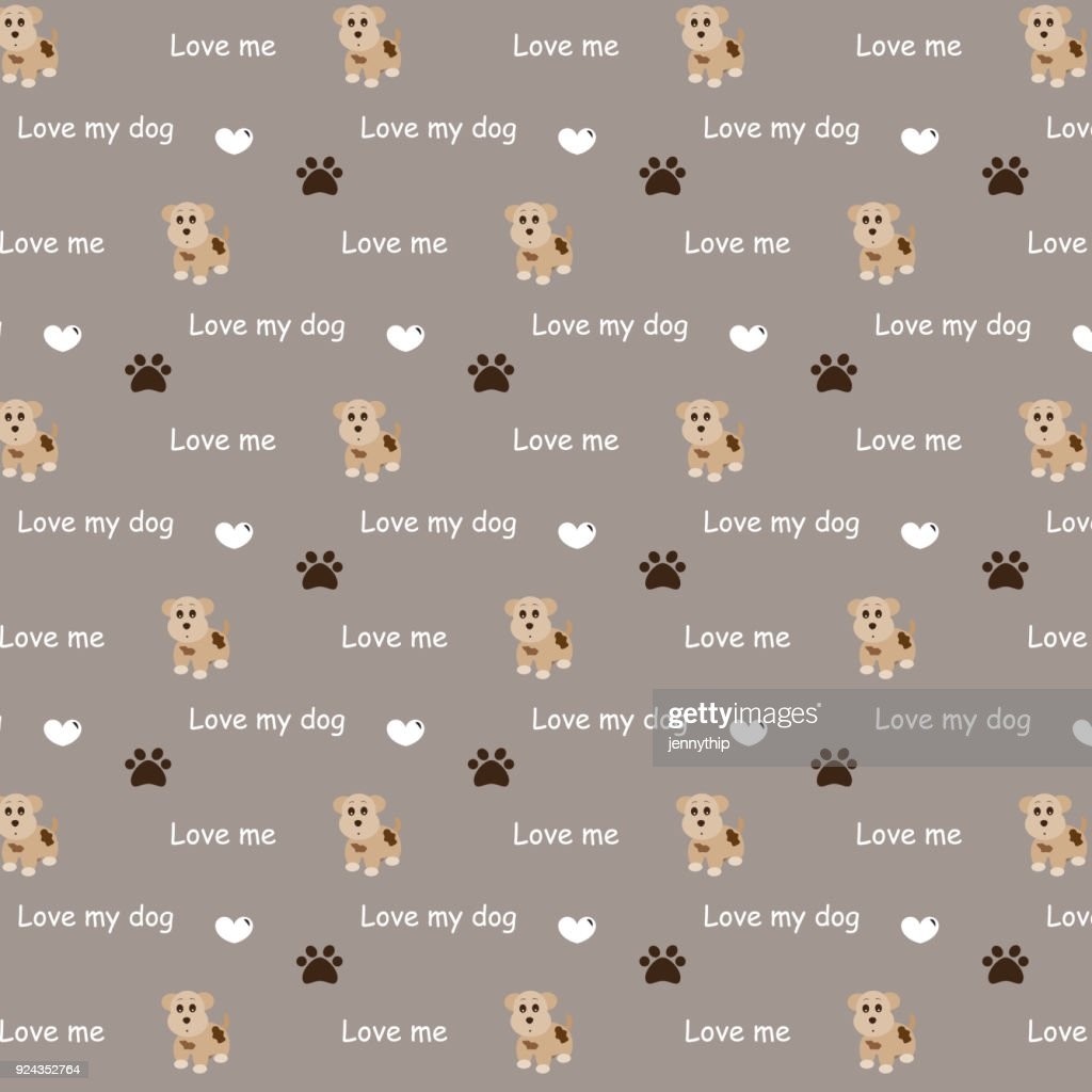 brown cute dog and dog foot with conceptual text and heart pattern background