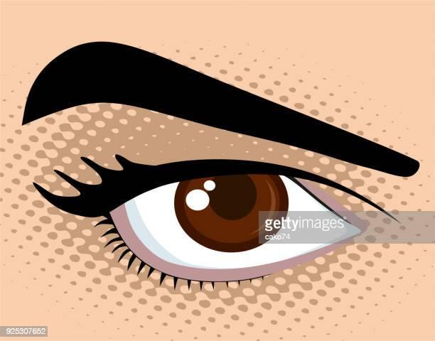 ilustrações, clipart, desenhos animados e ícones de ilustração do vetor de olhos castanhos - sobrancelha