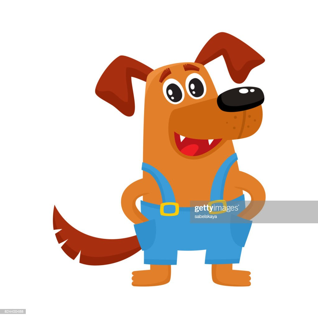 Brown funny dog, puppy character in blue overalls