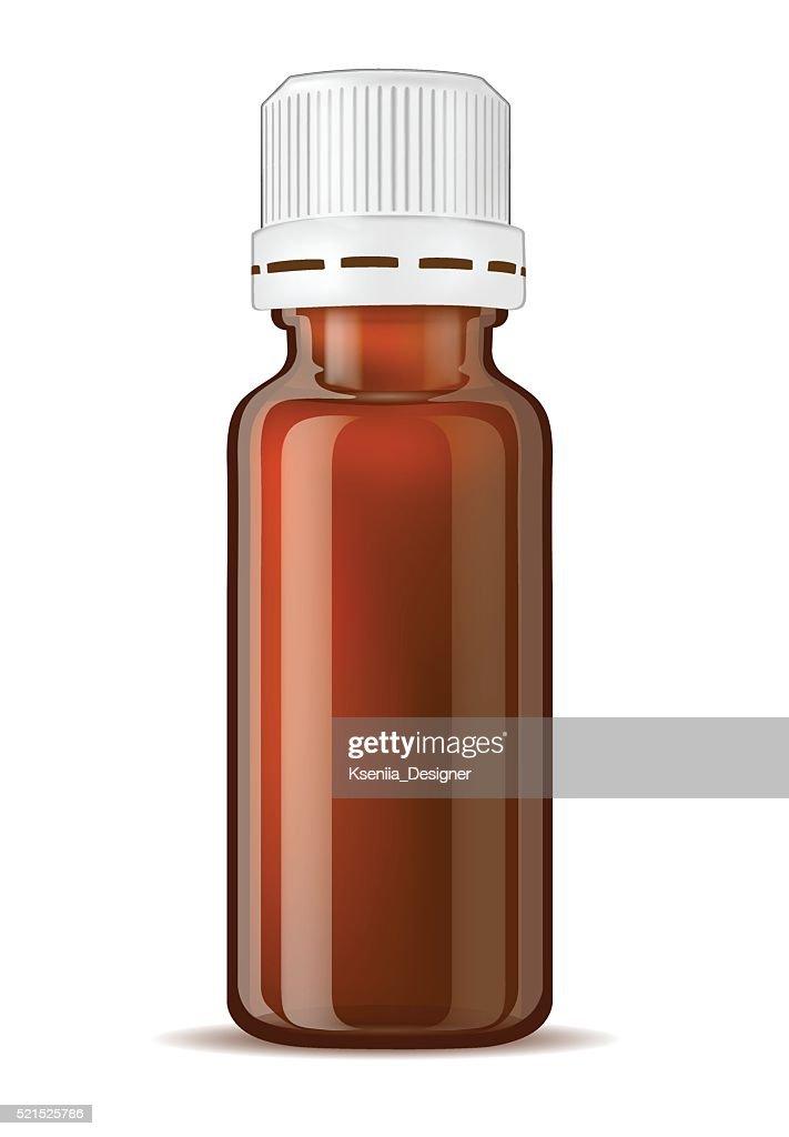 Brown glass medicine bottle with screw cap