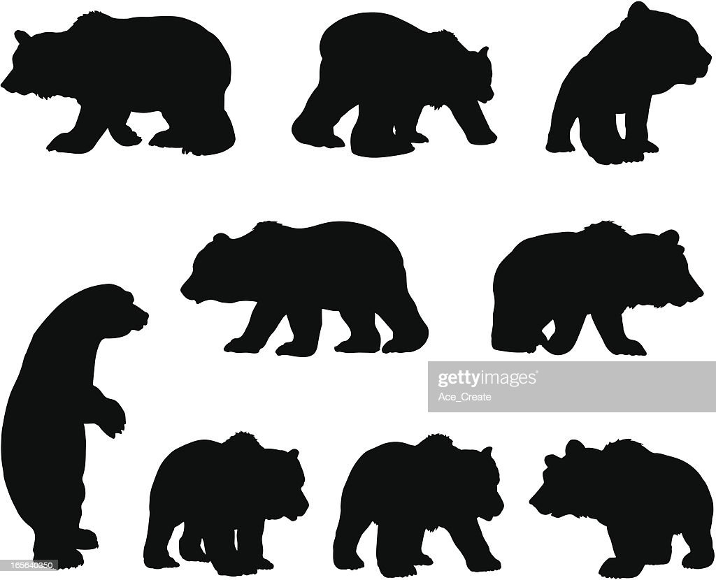 Brown grizzly bear silhouette set