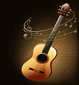 Brown guitar with musical notes