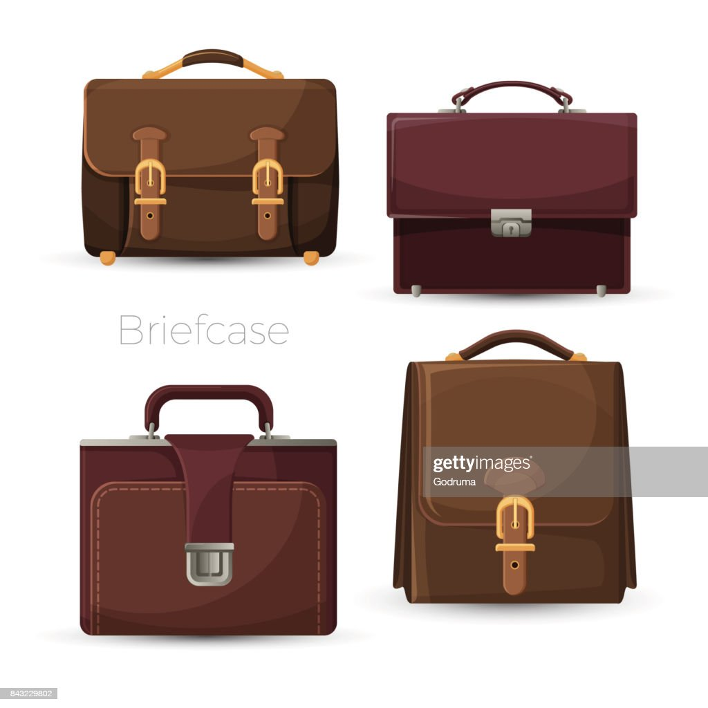 Brown leather cases for documents and papers. Collection of briefcases