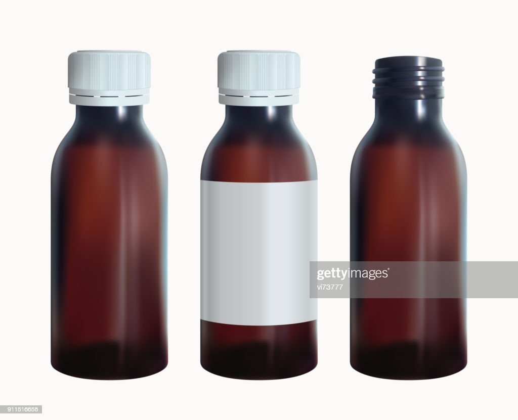 Brown medical bottle with a lable. Vial glass template. Isolated vector.