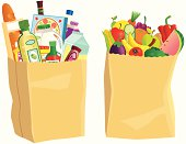 Brown paper grocery shopping bags