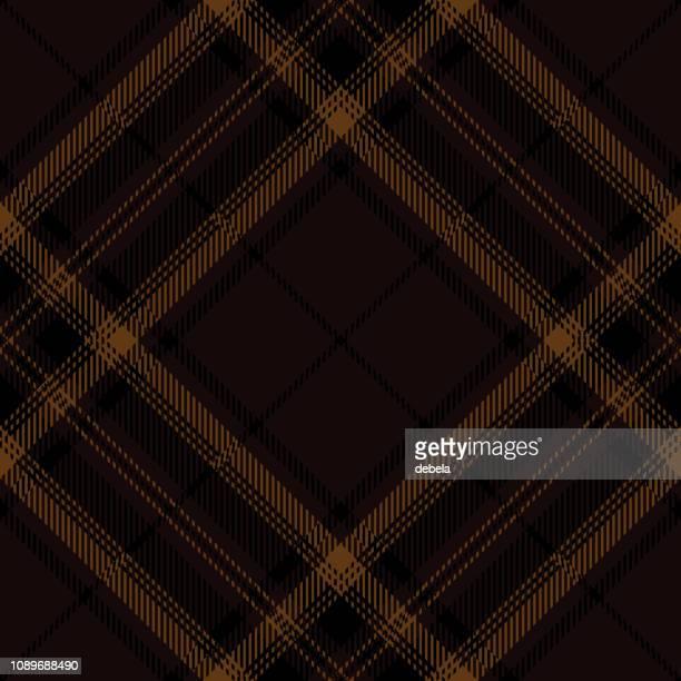 brown scottish tartan plaid textile pattern - tweed stock illustrations