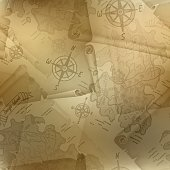 Brown seamless texture of old map with compass and manuscripts
