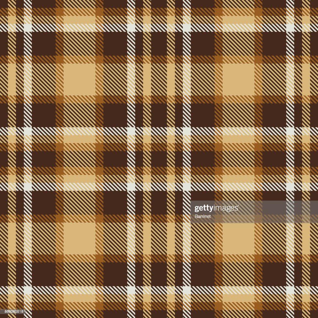 Brown tartan seamless vector pattern. Checkered plaid texture.