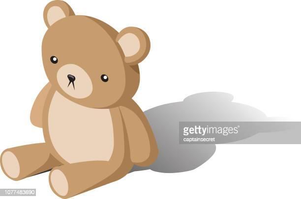 ilustraciones, imágenes clip art, dibujos animados e iconos de stock de marrón oso de peluche sentado - osito de peluche