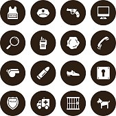 Brown Vector Police Icons - 16 Icons