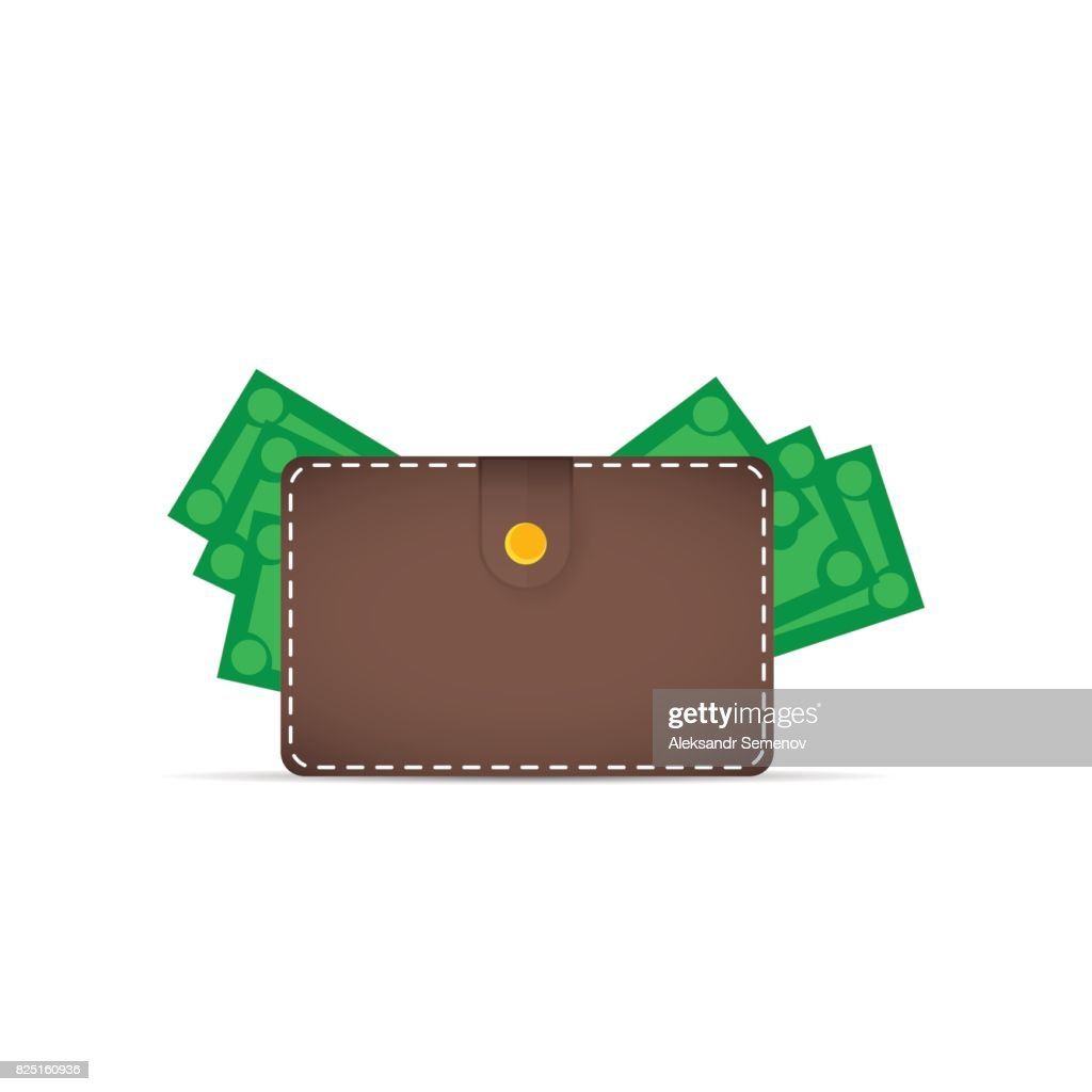 Brown wallet with money. Dollars stick out of the wallet