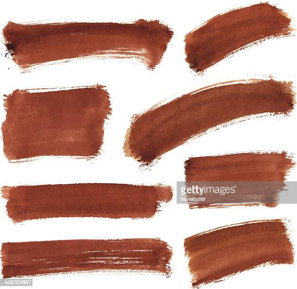 Brown Water Color Stroke Set