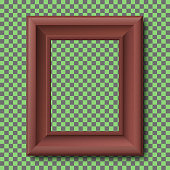Brown wooden vintage frame isolated on transparent background. Vector frame template.