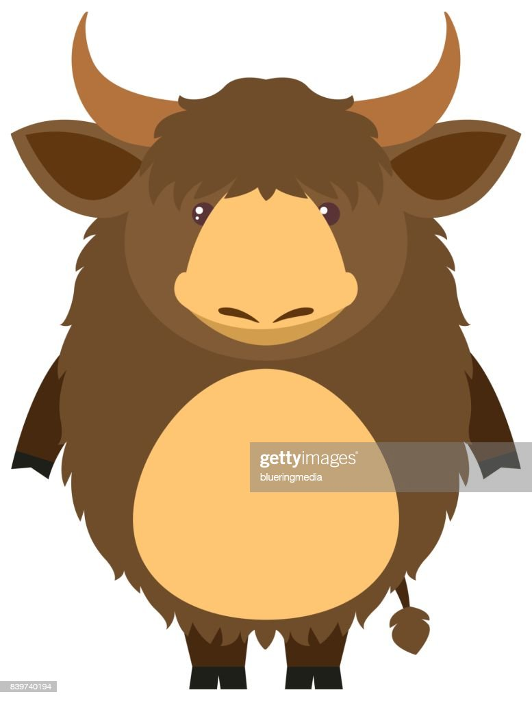 Brown yak with happy face