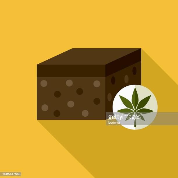 brownie flat design marijuana icon - brownie stock illustrations, clip art, cartoons, & icons
