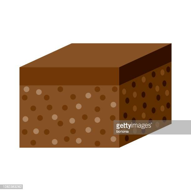 brownie icon on transparent background - fudge stock illustrations