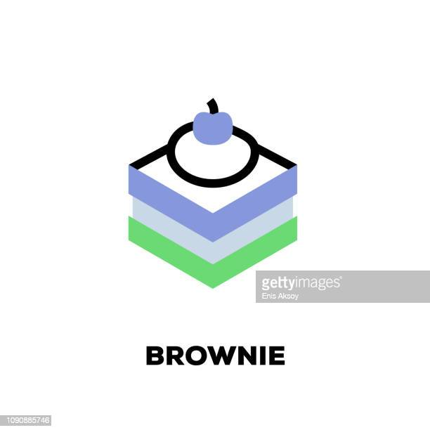 brownie line icon - brownie stock illustrations, clip art, cartoons, & icons