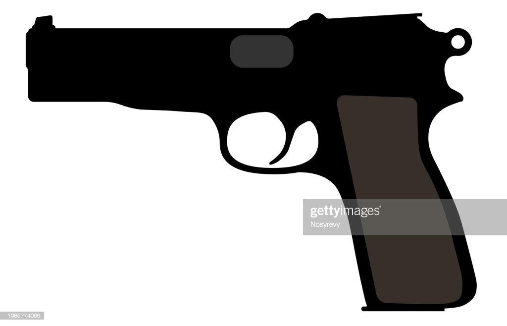 Browning Belgian gun. Vector silhouette weapon, pistol, gun