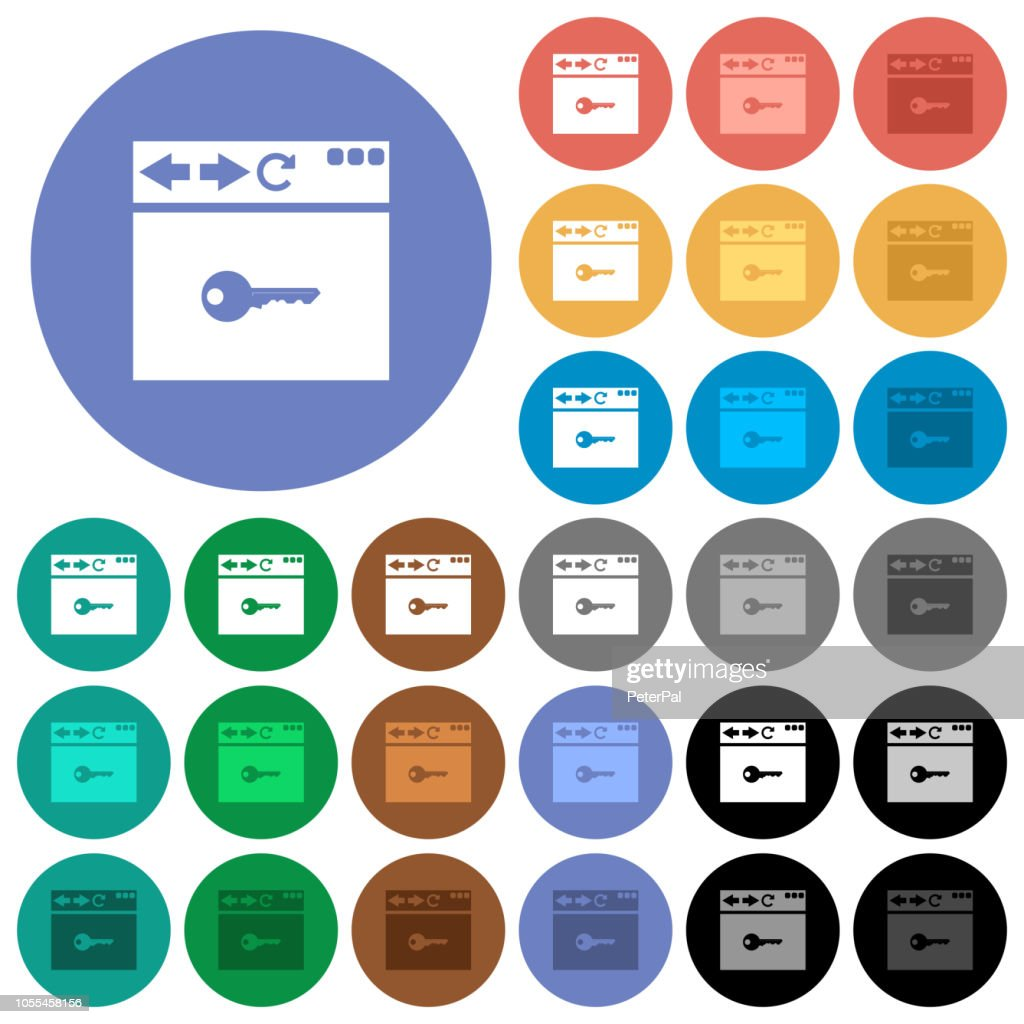 Browser encrypt round flat multi colored icons