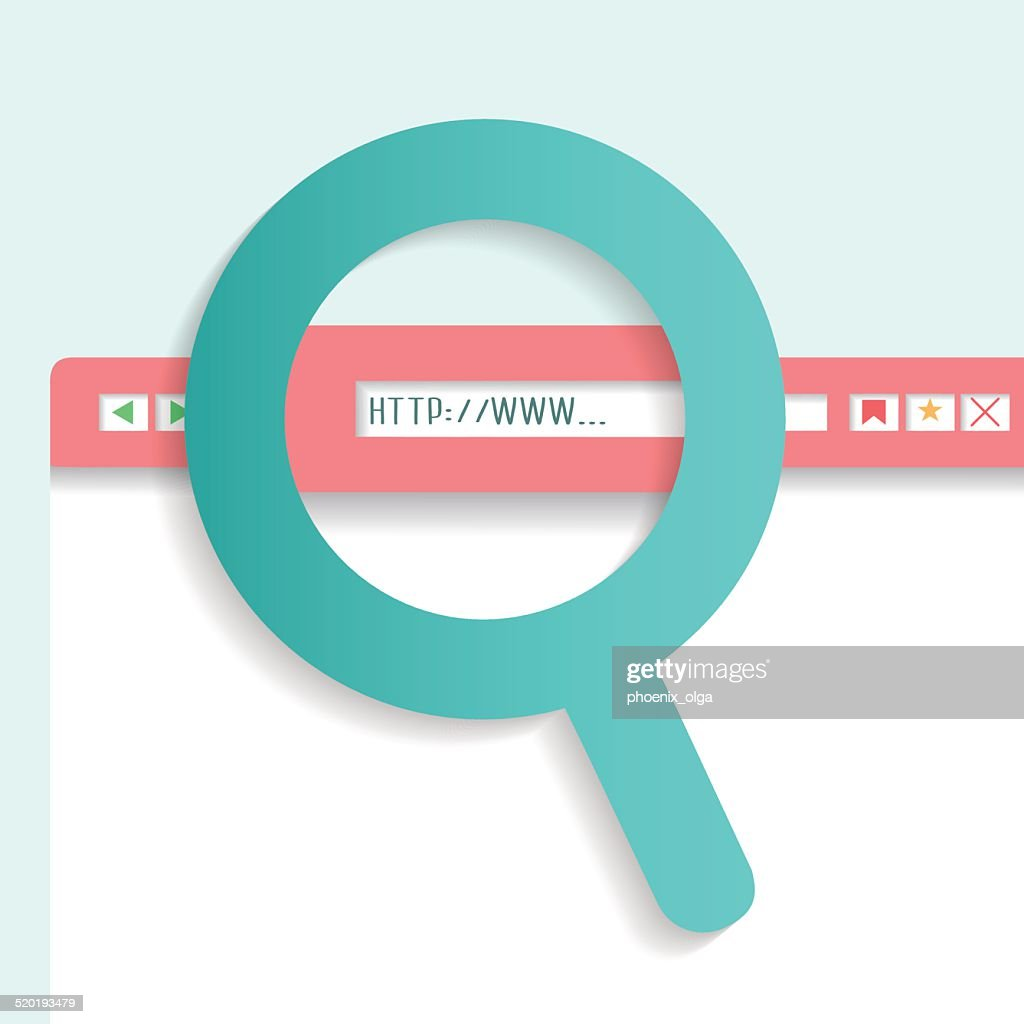 Browser search box with a magnifying glass. Vector 10 EPS