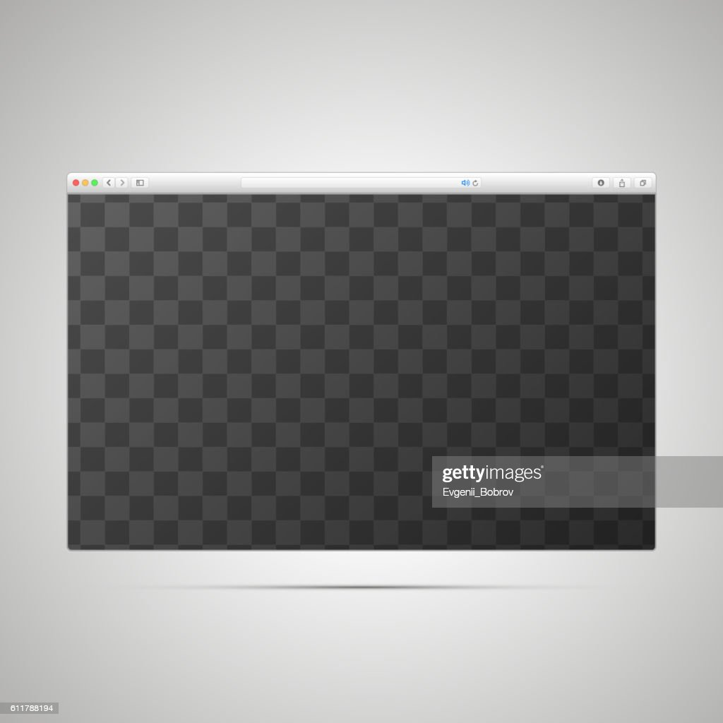 Browser window template with transparently place for web page
