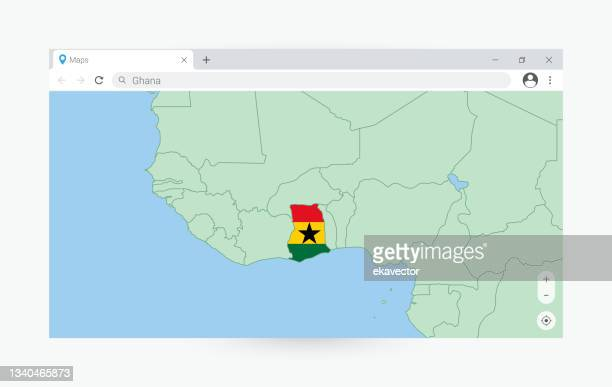 browser window with map ghana searching