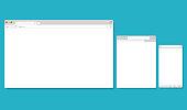 Browser Windows Empty Template Mockup Set. Vector