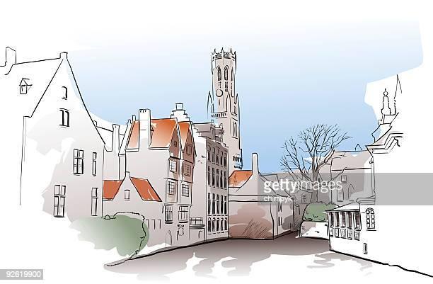 bruges watercolor - flanders belgium stock illustrations