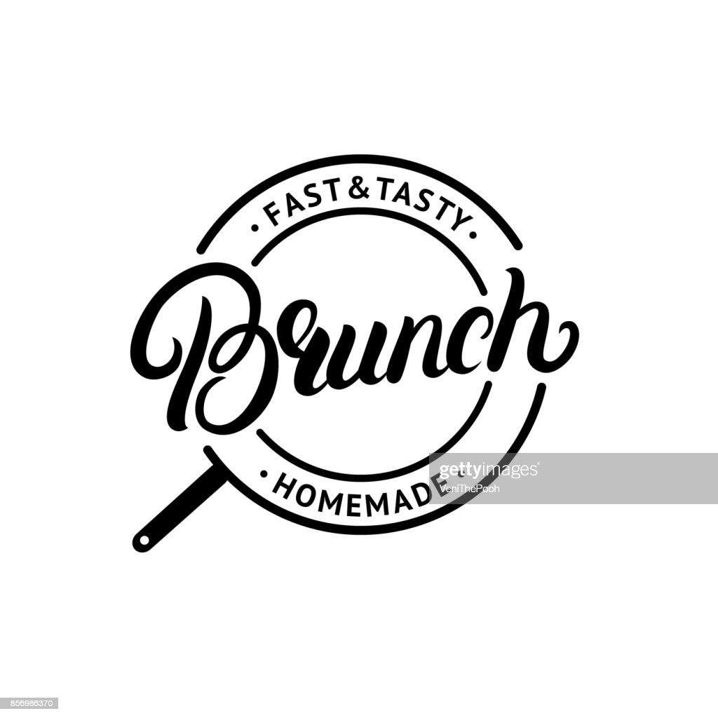 Brunch hand written lettering logo, label, emblem, sign.