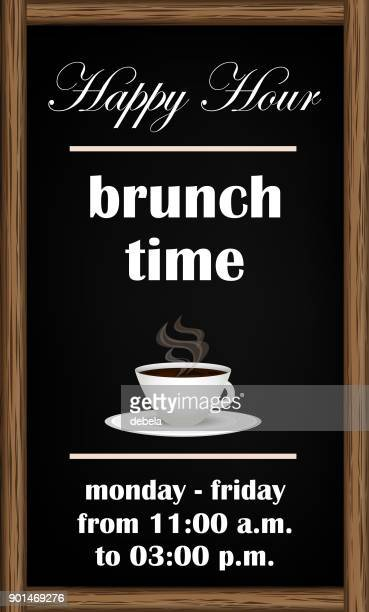brunch happy hour blackboard announcement - happy hour stock illustrations, clip art, cartoons, & icons
