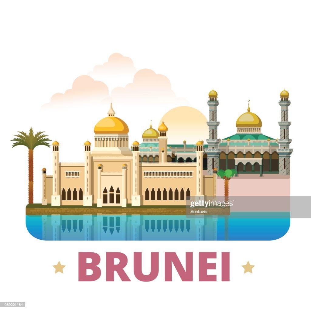 Brunei country design template. Flat cartoon style historic sight web vector illustration. World travel sightseeing Asia Asian collection. Sultan Omar Ali Saifuddin Mosque Jame Asr Hassanil Bolkiah