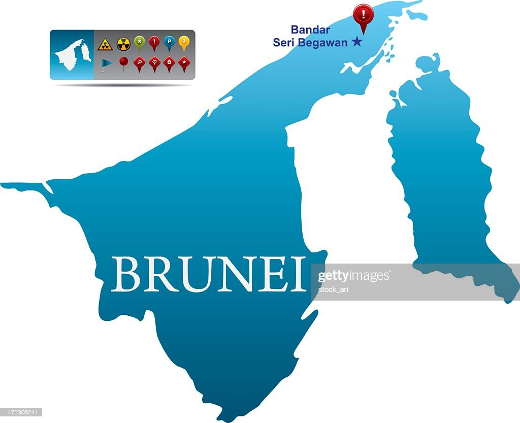 Brunei Map With Navigation Icons Vector Art Getty Images - Brunei map
