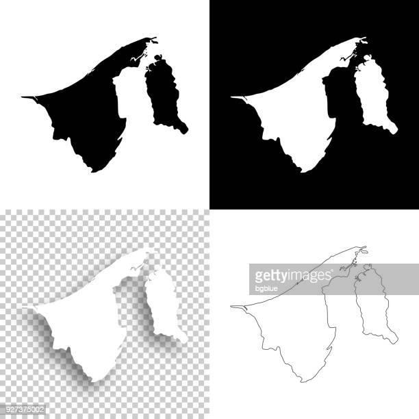 brunei maps for design - blank, white and black backgrounds - brunei stock illustrations