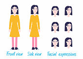 Brunette female character set ready for animation: separated arms/legs/body, 2 poses, facial expressions.